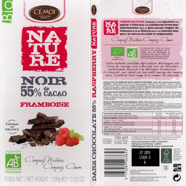 tablette de chocolat noir gourmand cémoi nature noir framboise 55
