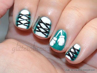 PCOS teal and white boxing nail art