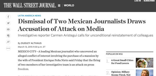 New York Times, Washington Post y Wall Street Journal destacan censura sobre Carmen Aristegui