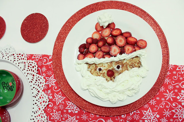 Santa pancake using strawberries and cream