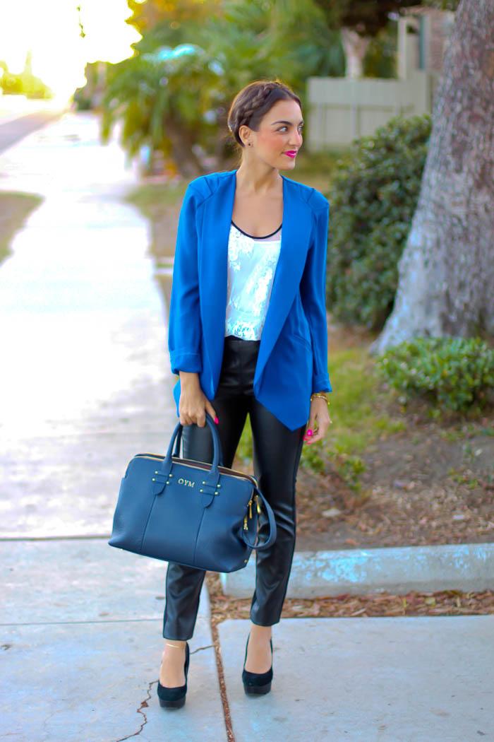 blue blazer faux leather pants target style milkmaid braid