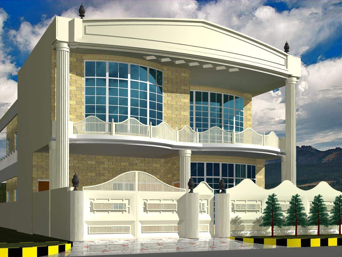 Dimetia Pakistani 2 Kinal House 3D Front Elevation Design