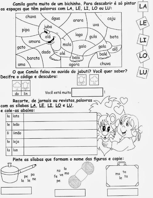 desenhos comAtividades com a letra L.Ensino Fundamental, Atividades para imprimir, Alfabetização, Letras, 1º ano. L,