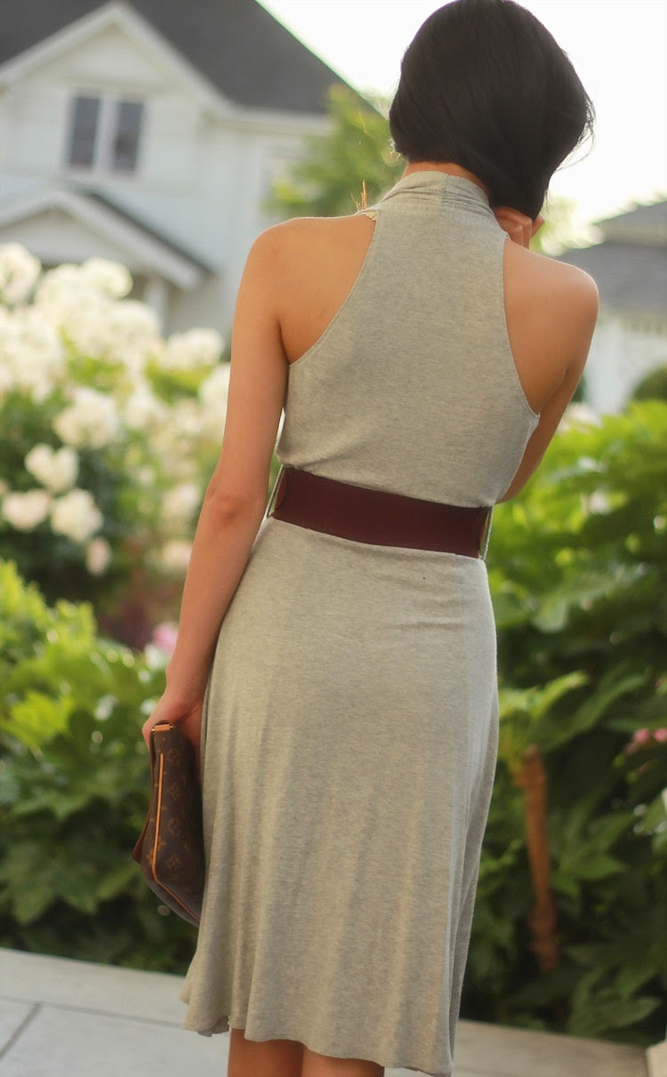 racerback jersey grey dress belted