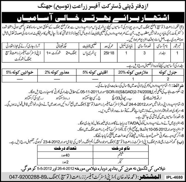 Jobs in Department of Agriculture District Jhang