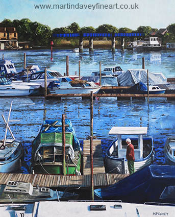 oil painting Southampton River Itchen from Cobden Bridge Bitterne