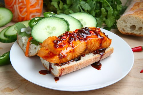 Vietnamese Caramel Salmon Banh Mi
