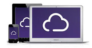 A colour picture of a desktop screen, a tablet and a phone all showing the white cloud on purple background of the BT Cloud logo