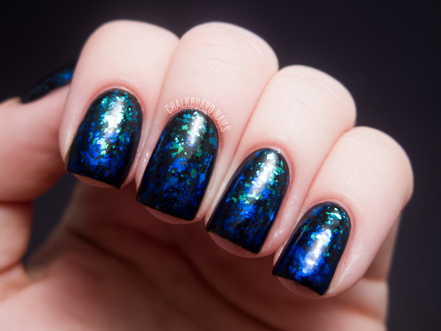 Blue to Green Flakie Gradient | Chalkboard Nails | Nail Art Blog