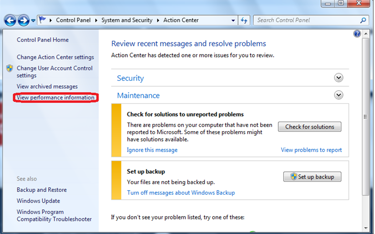 View computer review information windows 7