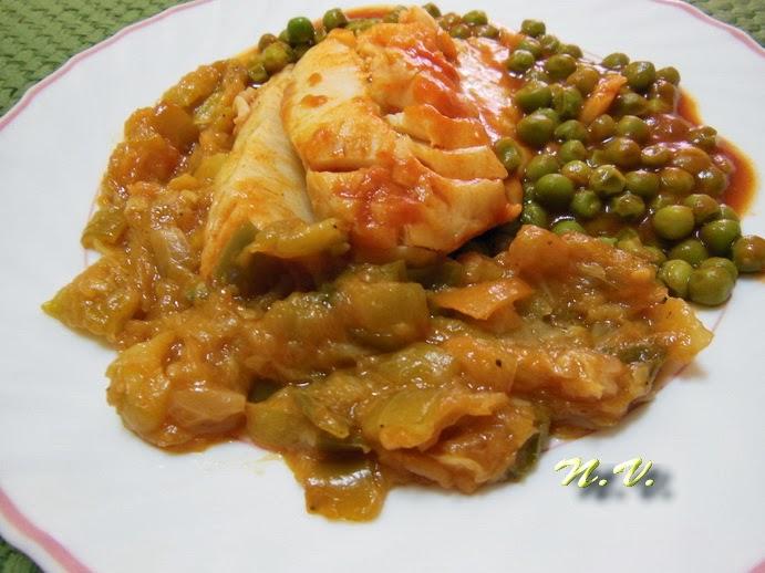 La cocina de natibel bacalao con guisantes tomate frito y guarnici n de verduras tambi n para - Cocinar bacalao congelado ...