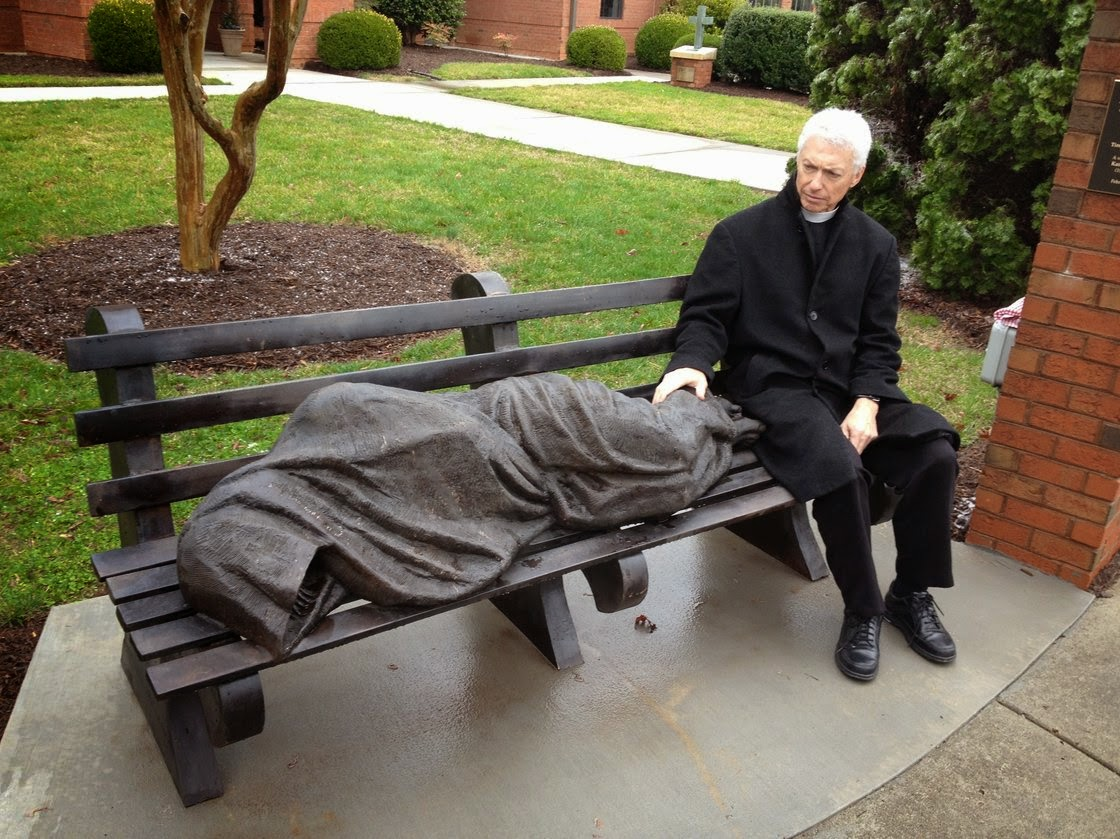 http://www.npr.org/2014/04/13/302019921/statue-of-a-homeless-jesus-startles-a-wealthy-community