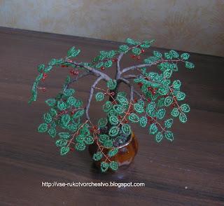 Дерево спелая вишня из бисера. Мастер-класс