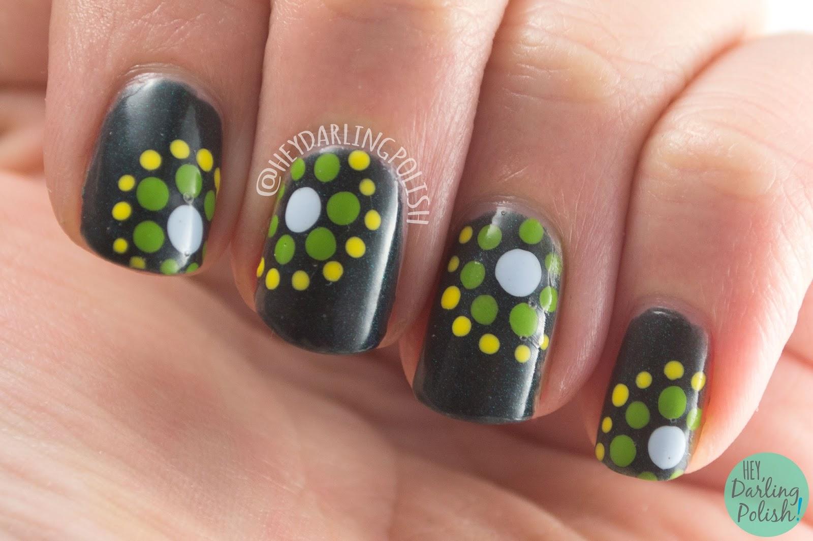 nails, nail art, nail polish, polka dots, circles, spell polish, indie polish, hey darling polish, teal, dots, the nail challenge collaborative