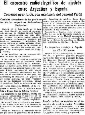 Recorte del diario ABC sobre el Match de 13 de octubre de 1946