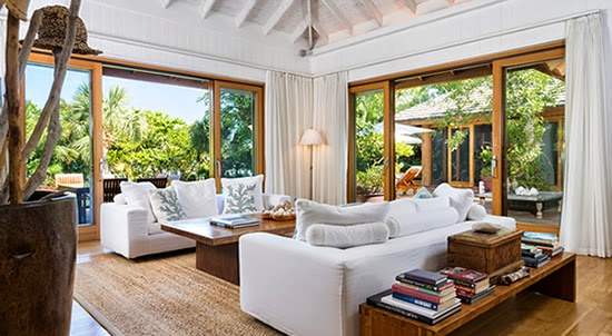 The living room of this beautiful home in Turks and Caicos