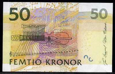 Sweden Currency 50 Swedish Kronor Krona money image