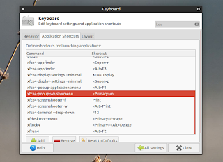 whisker menu keyboard shortcut