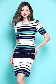 New 2017 Short Sleeve Horizontal Blue Strap OL Dress