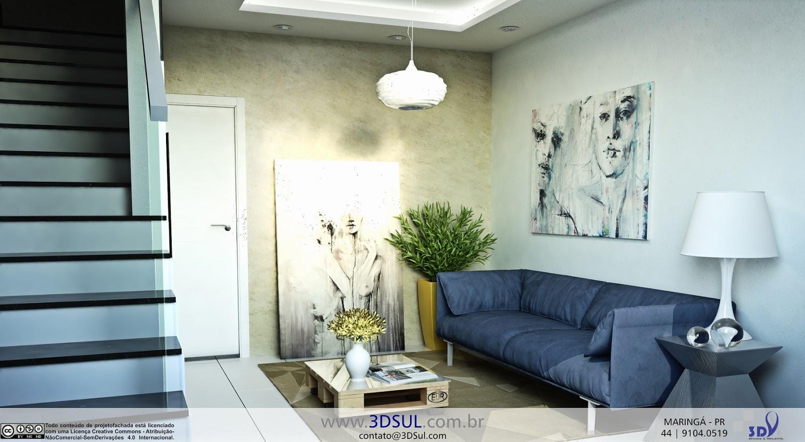 Sala De Estar Moderna Pequena ~   3D  Sala de Estar Pequena, Moderna e Decorada (Santos, SP