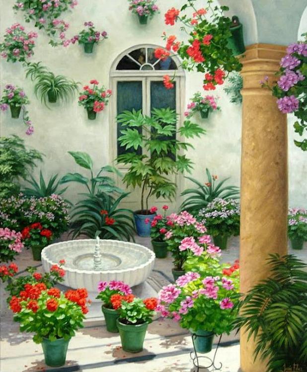 Cuadros modernos pinturas y dibujos paisajes de patios - Fuentes para patios ...