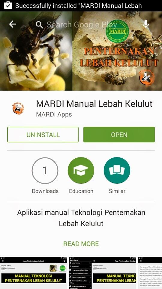 MARDI Membangunkan Aplikasi Android Manual Lebah Kelulut Untuk Penternak