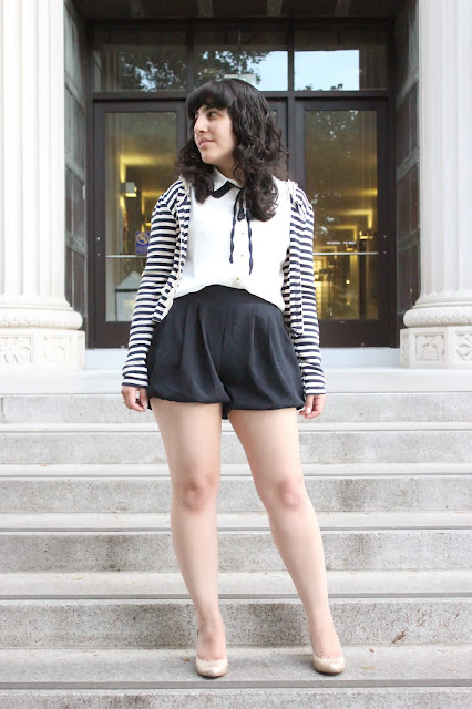 Striped Cardigan and Navy Shorts