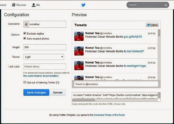 Kotak Twitter di Blog