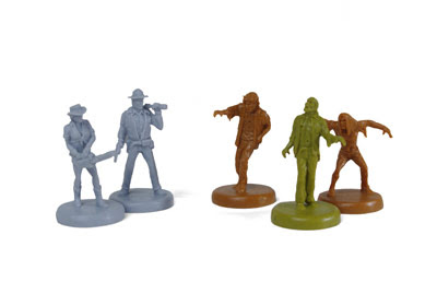 game figures of people and zombies
