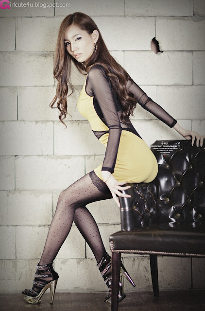 2 Lee Ji Min - Yellow Mini Dress-very cute asian girl-girlcute4u.blogspot.com
