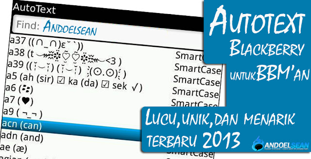 Auto text blackberry terbaru 2013
