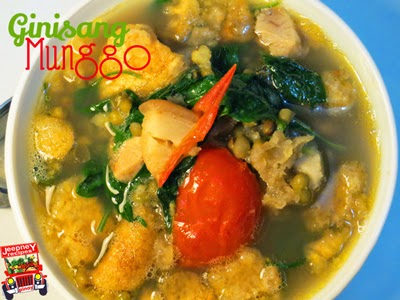 A bowl of hot Ginisang Monggo (Munggo) with chicharon