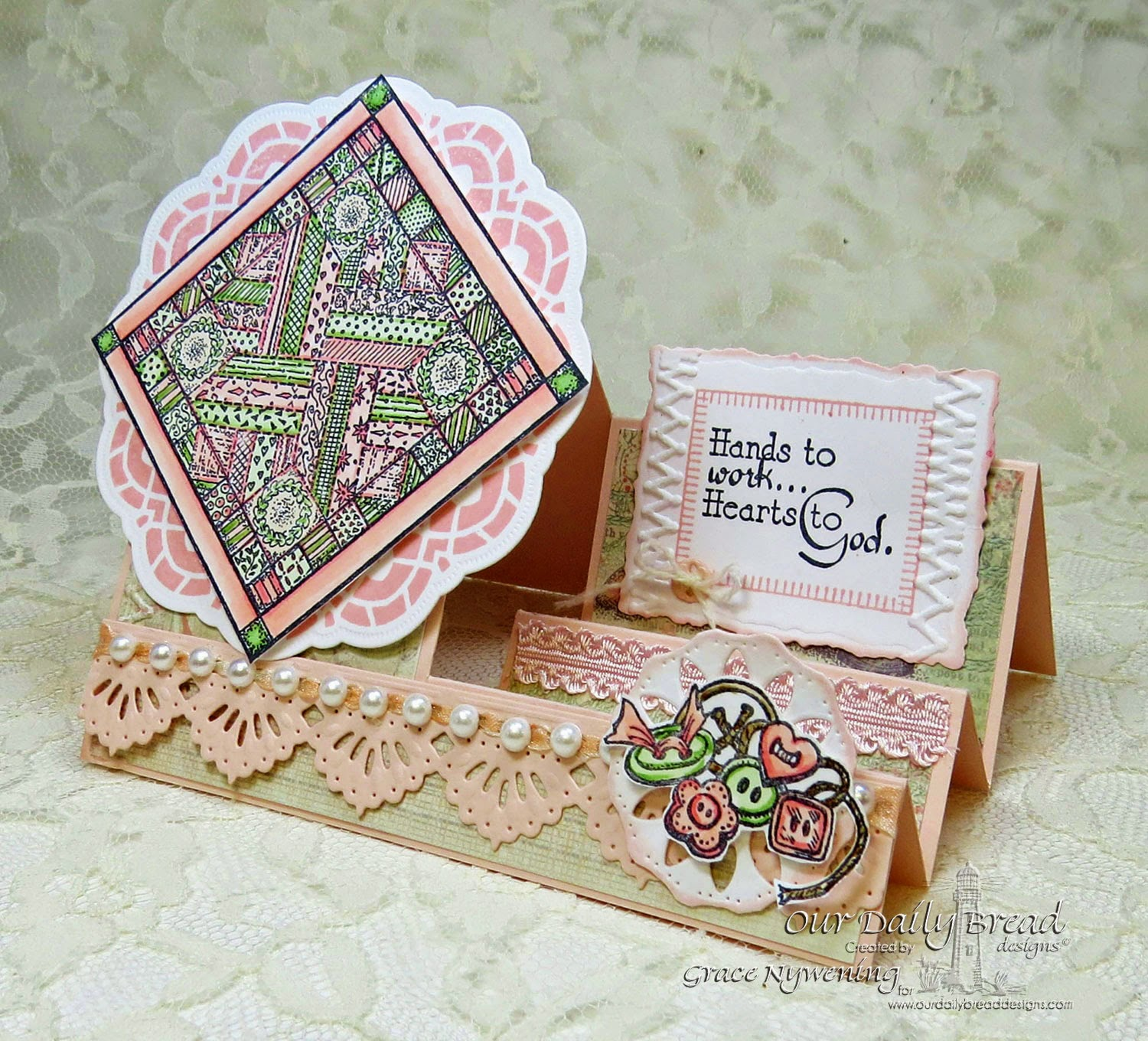 ODBD stamps:  Quilts, Sewing, Birthday Doily, designed by Grace Nywening