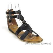 outlet de zapatos de mujer (sandalia romana negra )