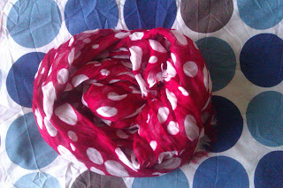 Red and White Spotted Scarf