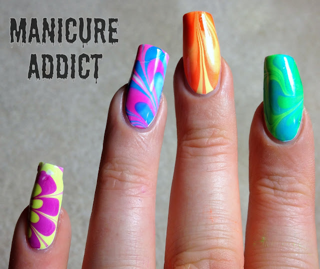 manicure addict challenge day 20 water marble nails