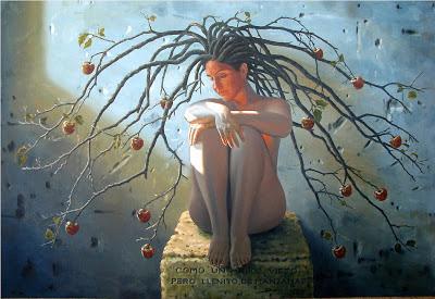 Pintura al oleo de mujer con manzanas