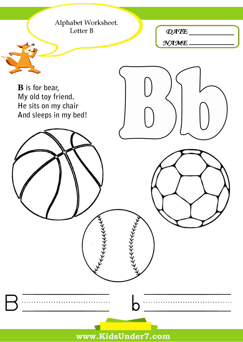 worksheet Letter B Worksheets For Preschool kids under 7 alphabet handwriting worksheets a to z kindergarten help learn identify the letters of alphabet