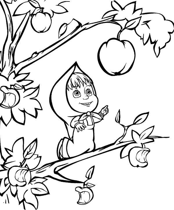 Halaman belajar mewarnai kartun anak - masha and the bear