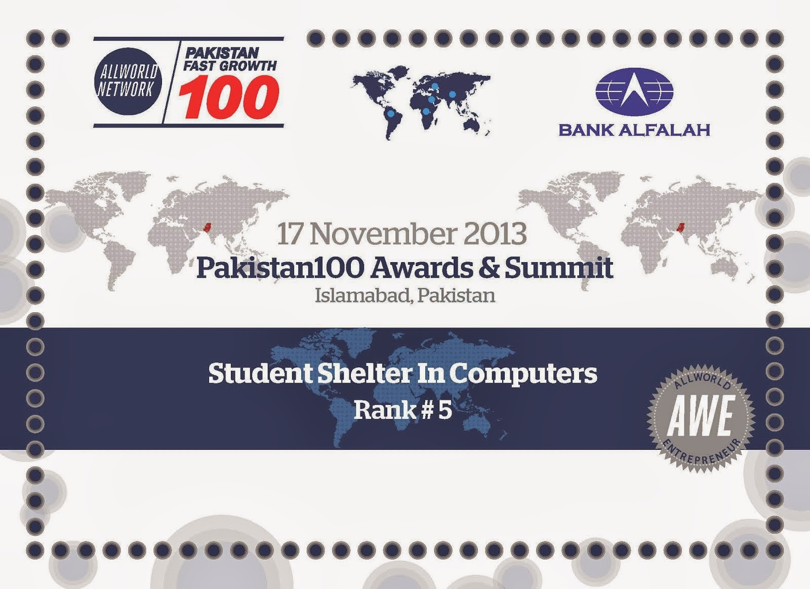 Student Shelter In Computers become Pakistan 100 Fast growing Company Rank-5