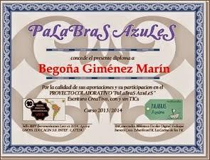 Diploma participación Proyecto Educativo PaLaBraS AzuLeS
