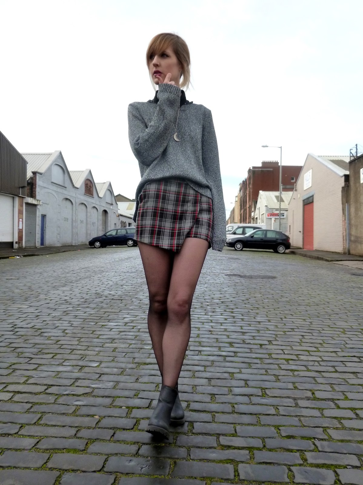Robots Eating Roses, Grey Tartan Skirt and Grey Jumper Winter Fashion