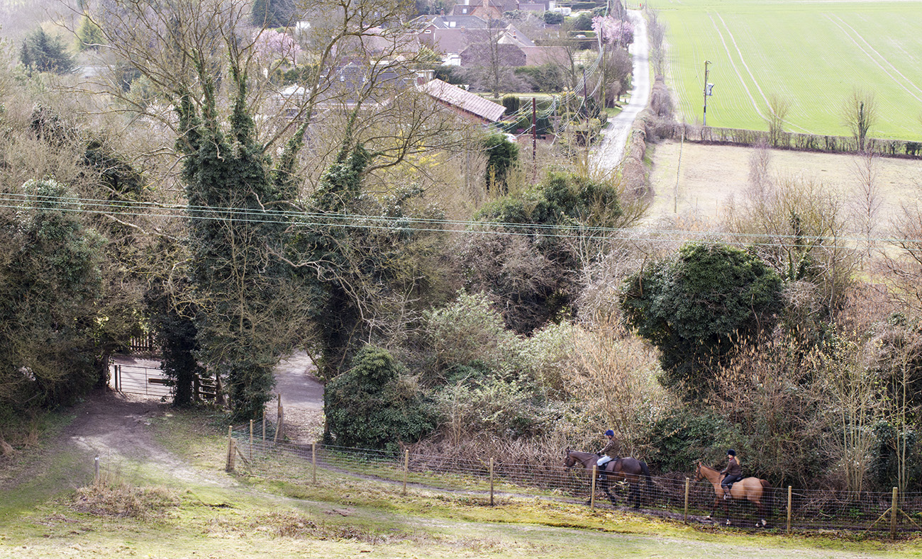 Horse riders on the Pilgrim's Way, taken  from Trosley Country Park.  27 March 2015.