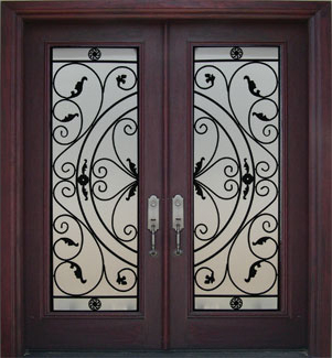 Wrought iron entry doors for you for Wood doors with wrought iron