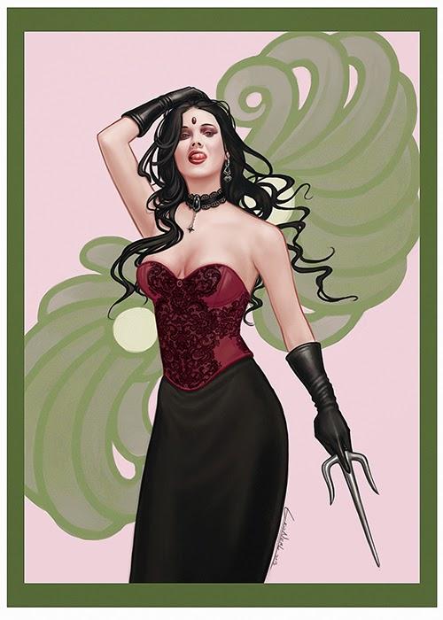 illustration de LaVata E. O'neal représentantune femme en corset et kunaï