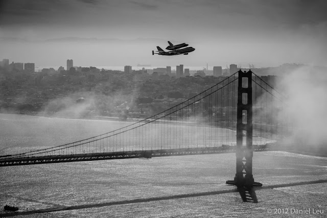 Space Shuttle Endeavour with Golden Gate Bridge and San Francisco Skyline