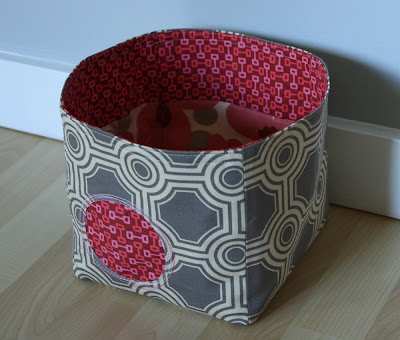 fabric bucket in gray and rose