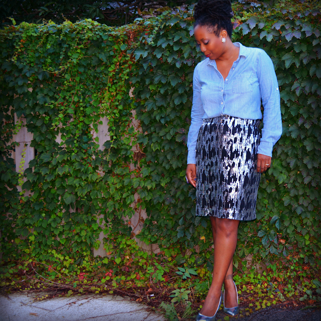 thrift and style a sequin skirt