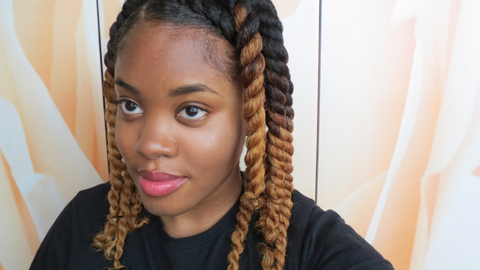 did a flat twisted head band and chunky two strand twists in the back
