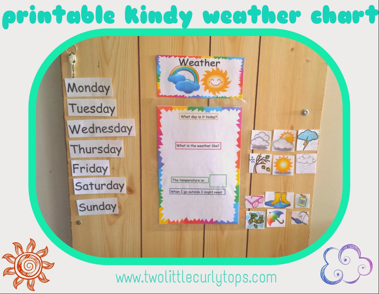 Simple kindy pre k weather chart printable